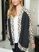 Knitted splicing cocoon-shaped loose and comfortable spring and autumn leopard print contrast knitted outerwear