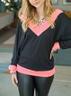 Stitching contrast warm women's high-neck casual and comfortable sweater