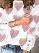 Print Beaded Round Neck Casual Sweaters