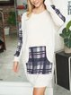 Mid-length stitching printed round neck fashion comfortable loose sweater