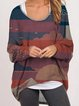 Round neck casual printing retro loose long sleeve T-shirt