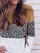 Leopard Round Neck Long Sleeves Casual Blouse