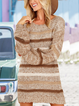 Striped Pullover Long Sweater Round Neck Loose Dress