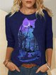 Cat Print O-neck Long Sleeve T-shirt