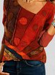 Vintage Print Long Sleeve V-neck Casual Blouse For Women