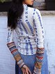 Ethnic style printed high neck casual comfortable soft tight T-shirt top