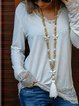 Women's comfortable v-neck spliced lace trim beautiful knitted top