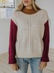 Contrasting color woolen round neck casual and comfortable cashmere-like wool knitted top