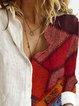 Women Striped Geometric Floral Print Color-block Buttoned Vintage Blouse