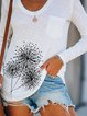 Print Dandelion V-Neck Long Sleeves Casual T-shirts
