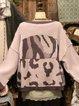 Long Sleeve V Neck Geometric Sweater