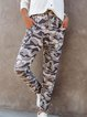 Casual Holiday Camouflage Print Self-tie Pockets Pants