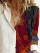 Women Gradient Polka Dots Striped Floral Print Buttoned Color-block Retro Blouse