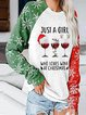 Christmas  Wine Glass Snowflake  Long Sleeve Print  Sweatshirt