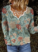 Cotton-Blend Casual Long Sleeve V Neck Sweater