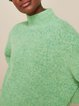 Simple and atmospheric solid color warm high-necked mid-length cashmere sweater for women