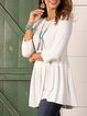 Simple and loose knit all-match round neck bottoming mid-length loose top
