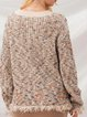 Fringed v-neck cashmere wool knit top for vacation casual women