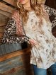Leopard stitching casual country girl knitted round neck women's T-shirt