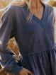 V-neck retro casual loose country women's midi dress