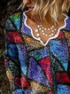 Women Casual Print V Neck Sweater