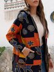 Hooded printed ethnic women's loose and warm women's outerwear