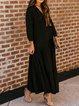 Solid Long Sleeves Elegant Maxi Dresses