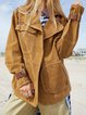 Casual cool loose comfortable suede stitching ladies jacket mid-length jacket