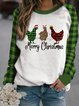 Long Sleeve Casual Christmas Snowman One-Pieces