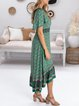 Holiday style loose print casual country retro small floral dress