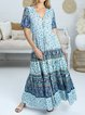 Cotton loose print holiday style casual comfortable loose long dress