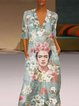 Floral Print Oil Painting Holiday V-neck Maxi Dress