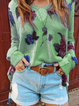 Women Casual Tops Tunic Flower Sweater
