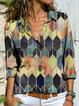 Khaki Long Sleeve Geometric Shirts & Tops