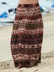 Ethnic style loose country casual print spring and summer skirt