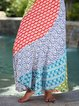 Ethnic print stitching long loose and cheap casual half skirt