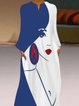 Printed Over-The-Knee Temperament Long Dress