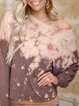 Tie-dye printing casual big round neck and long sleeve knitted T-shirt tops