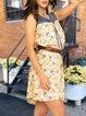 Denim stitching sleeveless loose casual holiday sleeveless dress