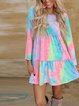 Tie-dye prints, leisure and loose-fitting summer women's essential dresses