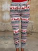 Knitted bohemian print women's spring and autumn fit trousers