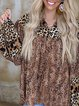 Leopard pattern stitching loose spring and autumn beautiful country ladies blouse