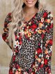 Beautiful floral and leopard print knitted midi dress