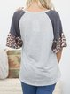 Casual loose leopard print stitching contrast color comfortable and happy female T-shirt