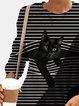 Two-tone Striped Cat Print O-neck Plus Size Blouse