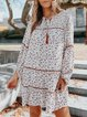 Vacation leisure waist loose loose hit color floral dress