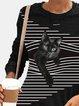 Black Cat Striped Patchwork Print Plus Size Casual Blouse