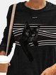 Black Cat Striped Patchwork Print Plus Size Casual Blouse