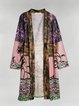 Plus Size Floral Statement Casual Outerwear