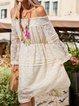 Off Shoulder Tassel Loose Elegant Dresses